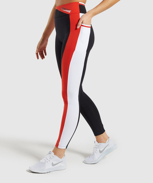 Gymshark Colour Block Leggings - Black/Red/White 2