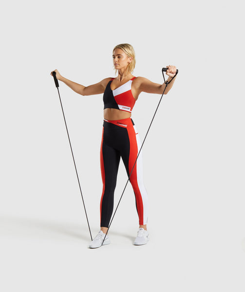 Gymshark Colour Block Leggings - Black/Red/White 3