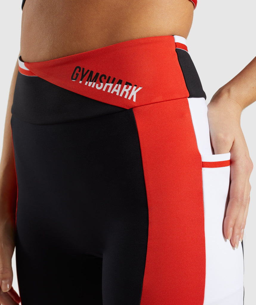 Gymshark Colour Block Leggings - Black/Red/White 5