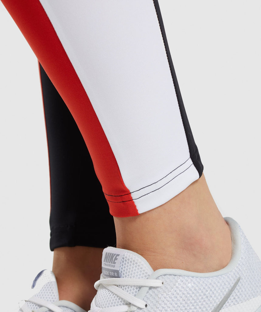 Gymshark Colour Block Leggings - Black/Red/White 6