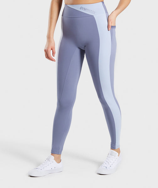 Gymshark Colour Block Leggings - Steel Blue Tones 4