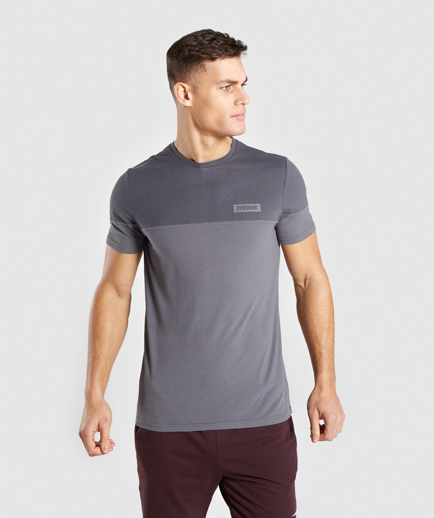 Gymshark Colour Block T-Shirt - Charcoal 1
