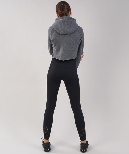 Gymshark Cropped Raw Edge Hoodie - Charcoal Marl 1