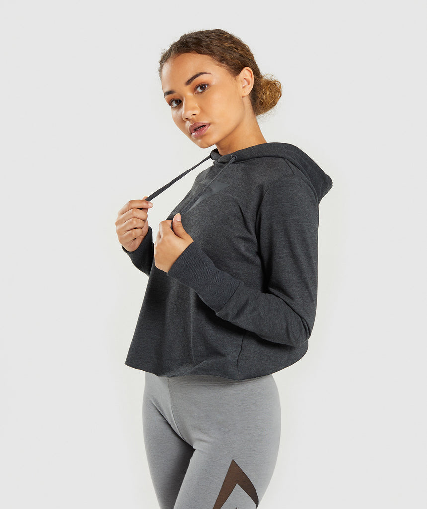 Gymshark Cross Back Hoodie - Black Marl 1