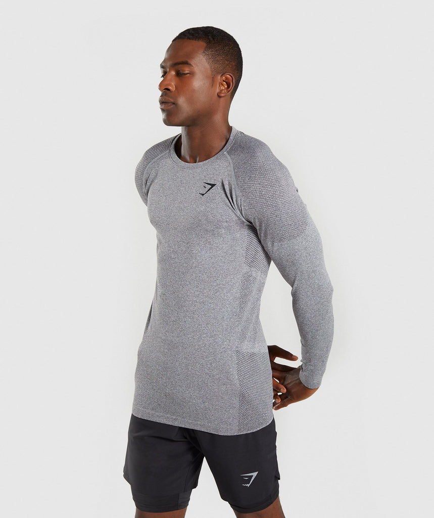 Gymshark Define Seamless Long Sleeve T-Shirt - Smokey Grey Marl 1