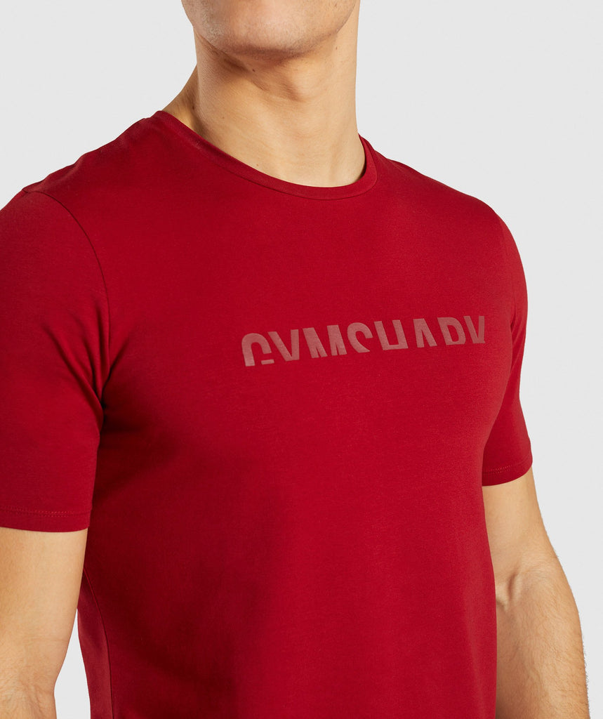 Gymshark Divide T-Shirt - Full Red 5