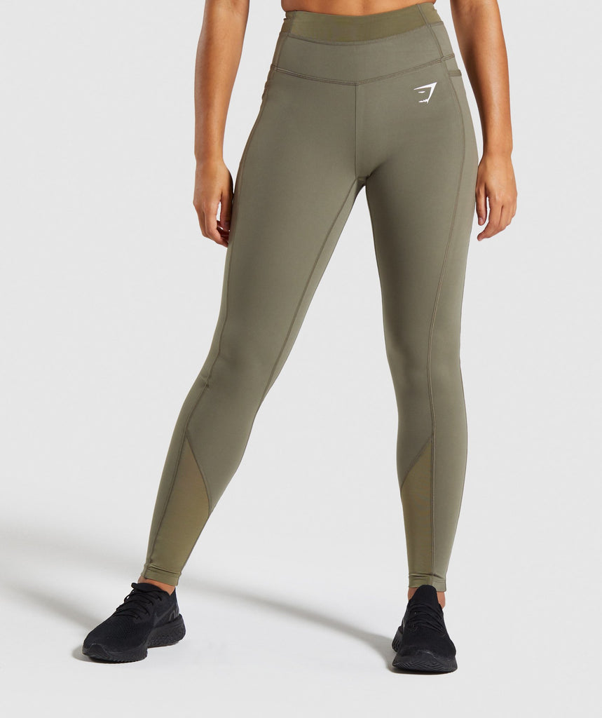 Gymshark Dreamy Mesh Leggings - Khaki 1