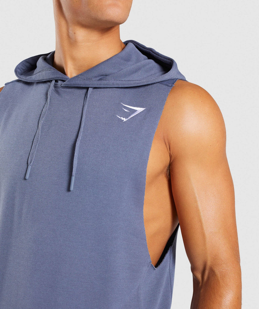 Gymshark Drop Arm Sleeveless Hoodie - Aegean Blue 6