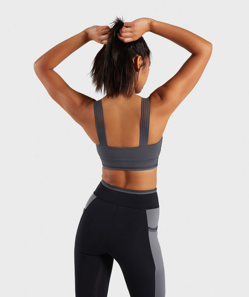 Gymshark Colour Block Sports Bra - Black/Charcoal/Smokey Grey 1