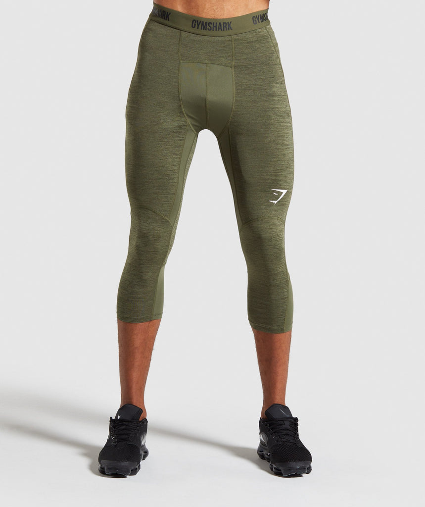 Gymshark Element+ Baselayer 3/4 Leggings - Dark Green Marl 1
