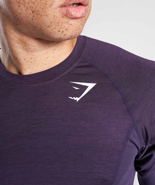 Gymshark Element Baselayer Short Sleeve Top - Nightshade Purple Marl 4