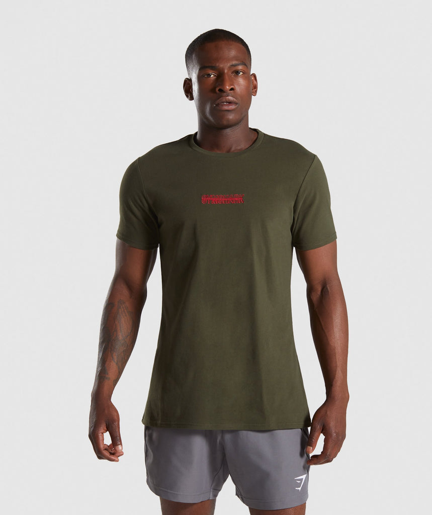 Gymshark Embroidered Logo T-Shirt - Dark Green 1