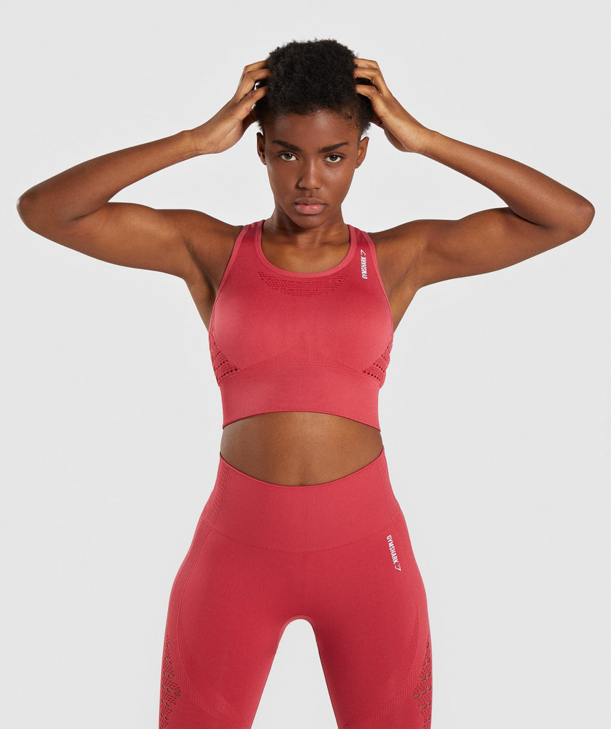 Gymshark Energy+ Seamless Crop Top - Red 1