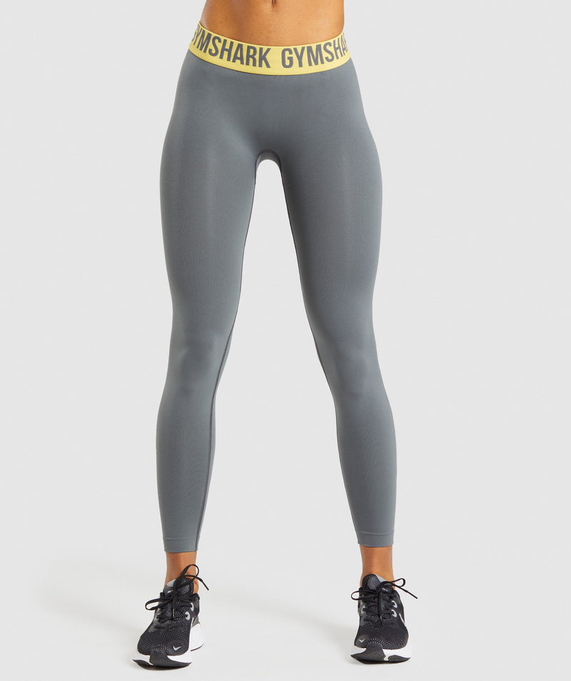 Gymshark Fit Seamless Leggings - Charcoal/Yellow