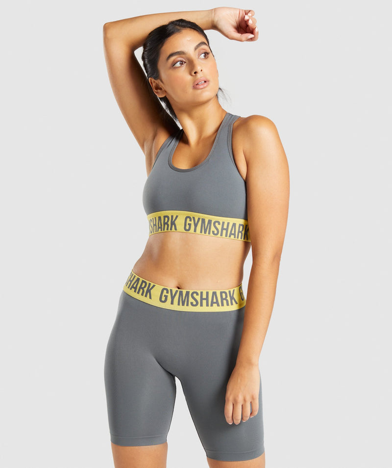 Gymshark Fit Seamless Sports Bra - Charcoal/Yellow