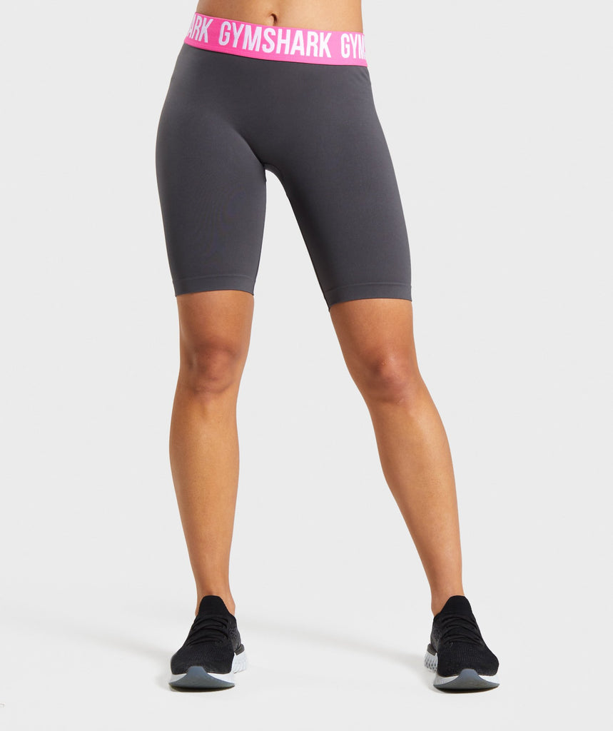 Gymshark Fit Cycling Shorts - Charcoal/Pink 1