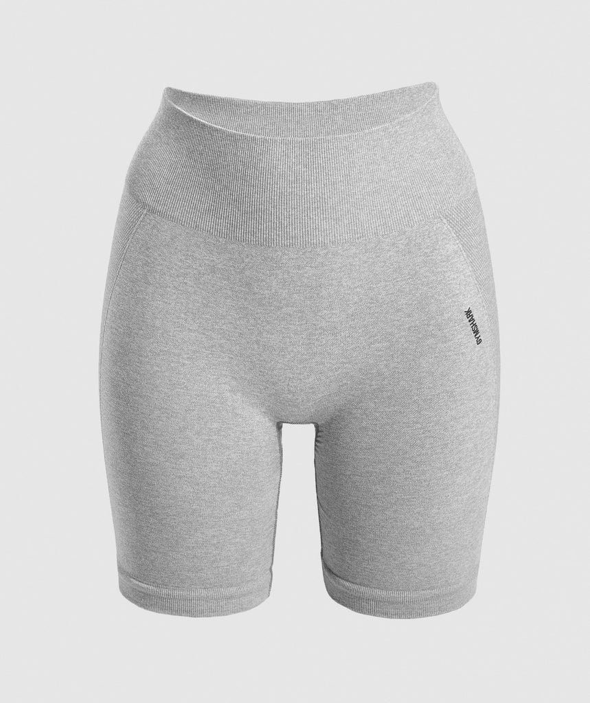 Gymshark Flex Cycling Shorts - Light Grey Marl/Black 1