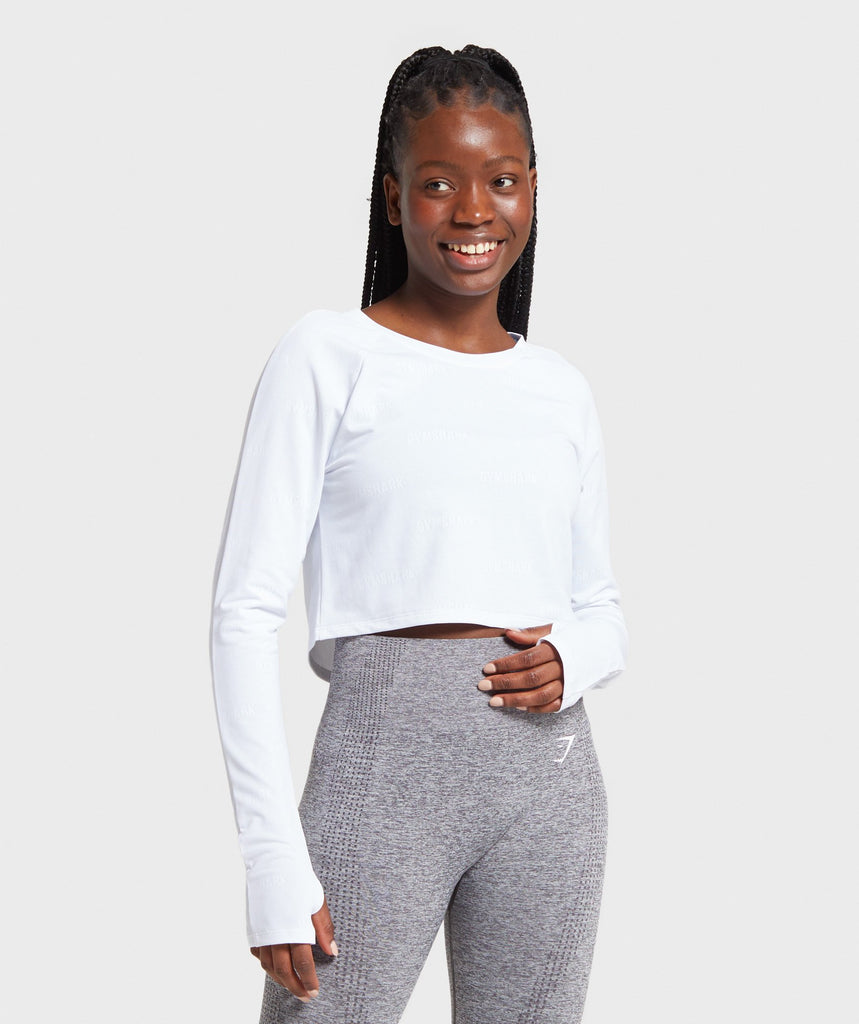 Gymshark Focus Long Sleeve Crop Top - White 1