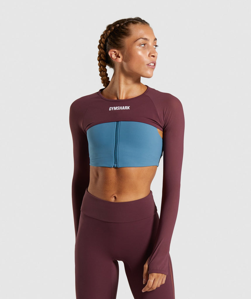Gymshark Form Supercrop Shrug - Berry Red 1