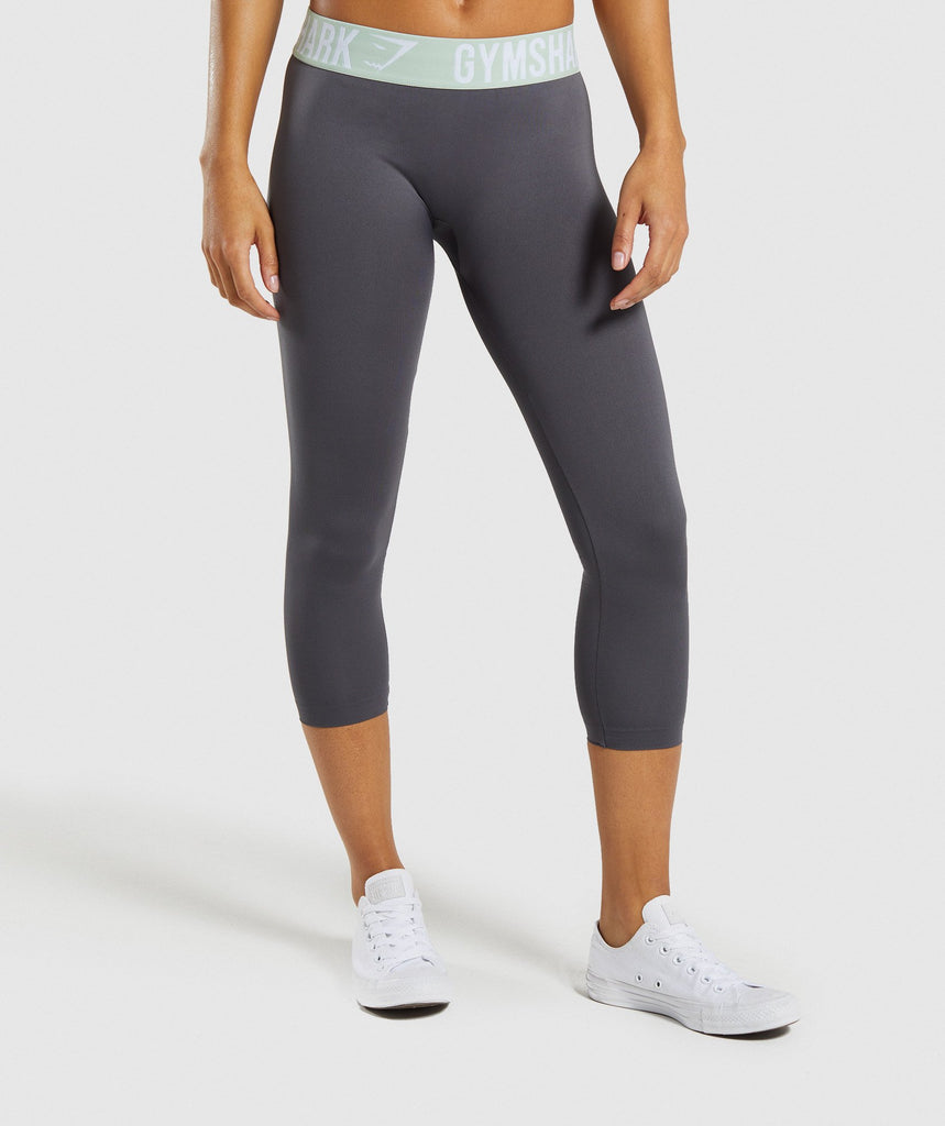 Gymshark Fit Cropped Leggings - Grey/Light Green 1