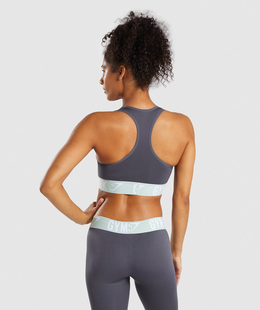 Gymshark Fit Sports Bra - Grey/Light Green 2
