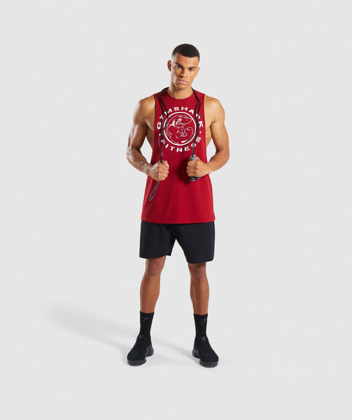 Gymshark Legacy Drop Armhole Tank - Full Red 3