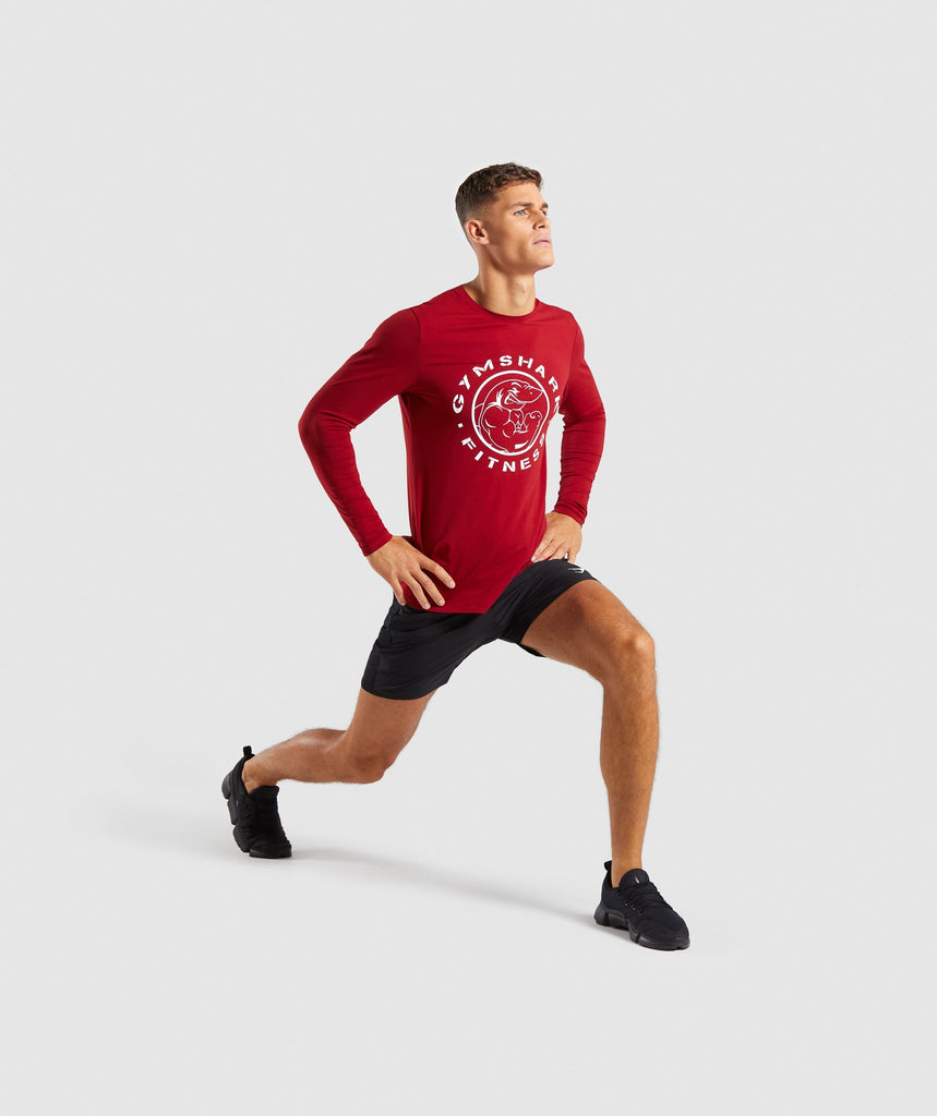 Gymshark Legacy Long Sleeve T-Shirt - Full Red 5