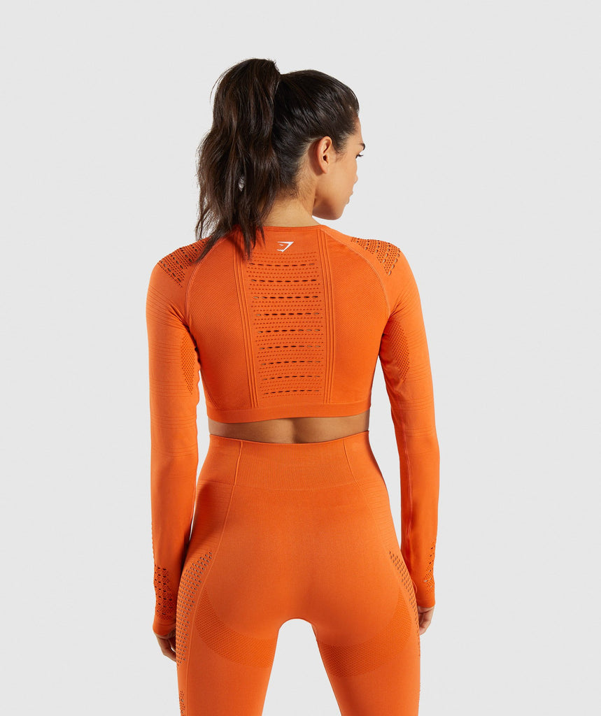 Gymshark Flawless Knit Long Sleeve Crop Top - Burnt Orange 2