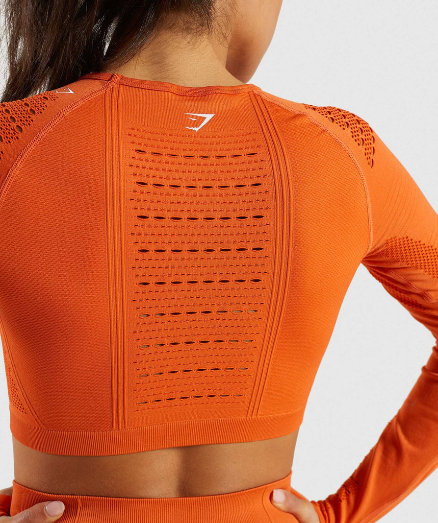 Gymshark Flawless Knit Long Sleeve Crop Top - Burnt Orange 5
