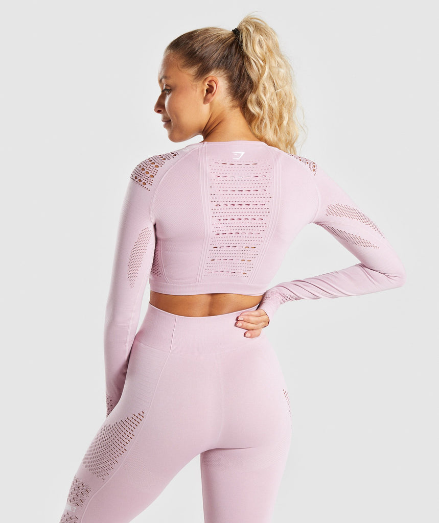 Gymshark Flawless Knit Long Sleeve Crop Top - Washed Lavender 2