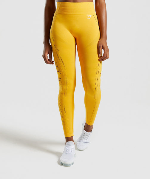 2def5149d2672 Gymshark Flawless Knit Tights - Yellow | Gymshark