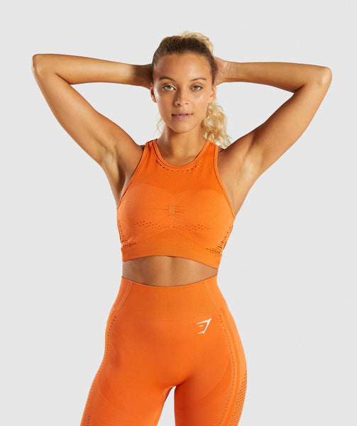 b1893ba42fb24 ... Gymshark Flawless Knit Sports Bra - Burnt Orange 4 ...