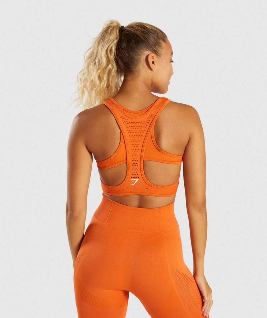 Gymshark Flawless Knit Sports Bra - Burnt Orange 2