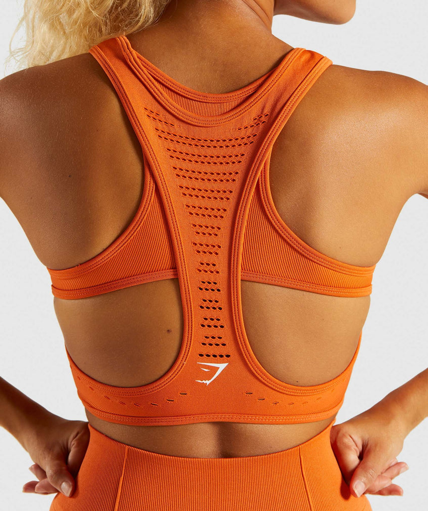 Gymshark Flawless Knit Sports Bra - Burnt Orange 6