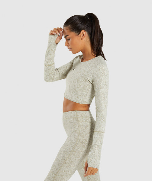Gymshark Fleur Texture Long Sleeve Crop - Washed Khaki Marl 2