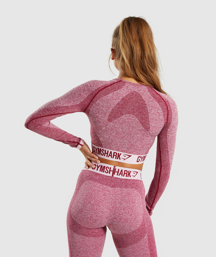 Gymshark Flex Long Sleeve Crop Top - Beet Marl/Chalk Pink 2