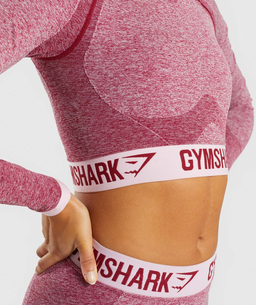 Gymshark Flex Long Sleeve Crop Top - Beet Marl/Chalk Pink 5