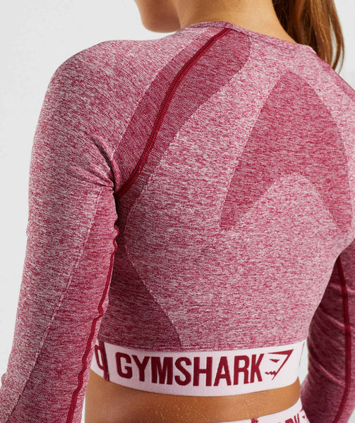 Gymshark Flex Long Sleeve Crop Top - Beet Marl/Chalk Pink 4