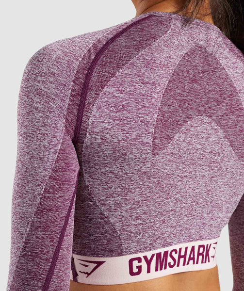 Gymshark Flex Long Sleeve Crop Top - Dark Ruby/Blush Nude 4