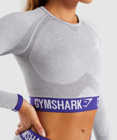 Gymshark Flex Long Sleeve Crop Top - Light Grey Marl/Indigo 11