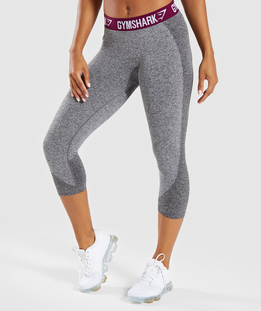 Gymshark Flex Cropped Leggings - Charcoal/Deep Plum 1