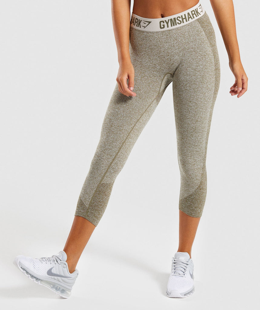 Gymshark Flex Cropped Leggings - Khaki/Sand 1
