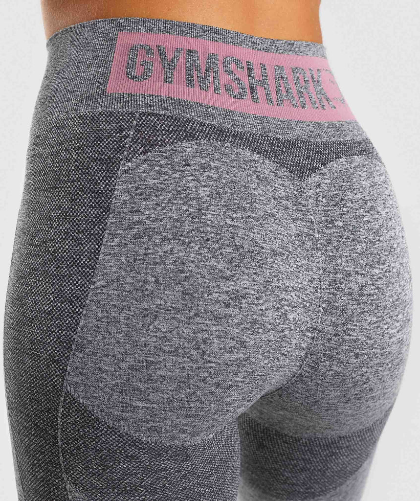 Gymshark Flex High Waisted Leggings - Charcoal Marl/ Dusky Pink 6