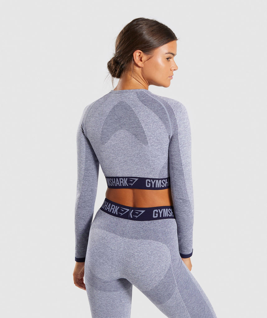 Gymshark Flex Long Sleeve Crop Top - Steel Blue Marl/Evening Navy Blue 2