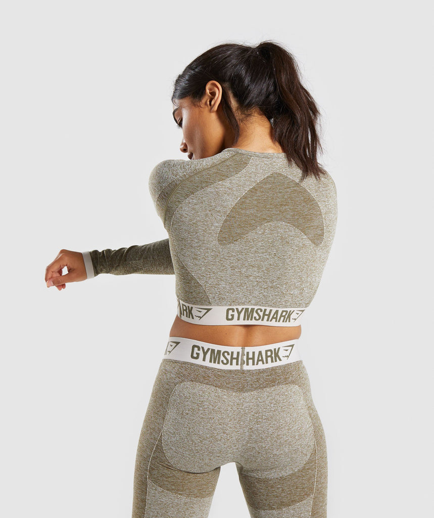 Gymshark Flex Long Sleeve Crop Top - Khaki/Sand 2