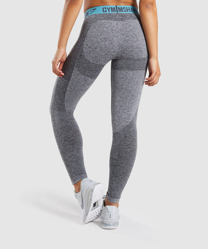 Gymshark Flex Leggings - Charcoal Marl/Dusky Teal 2
