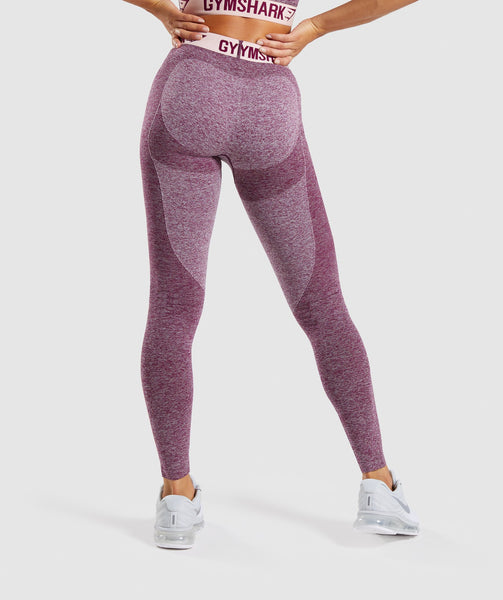 Gymshark Flex Leggings - Dark Ruby Marl/Blush Nude 1