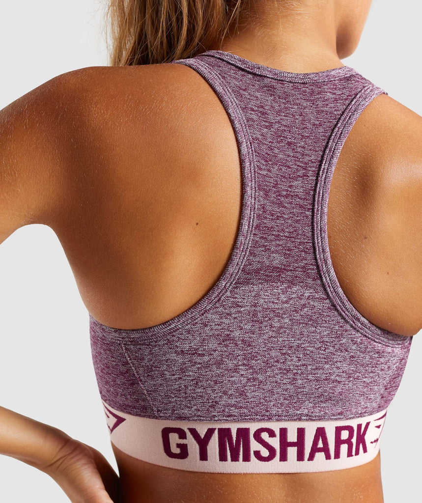 Gymshark Flex Sports Bra - Dark Ruby Marl/Blush Nude 6