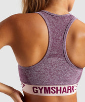 Gymshark Flex Sports Bra - Dark Ruby Marl/Blush Nude 12