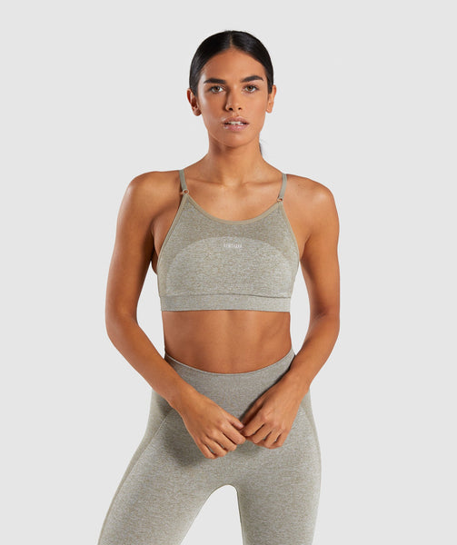 Gymshark Flex Strappy Sports Bra - Washed Khaki Marl/Blush Nude 1
